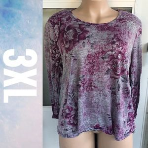 Purple Floral Lace Back Long Sleeve Tee